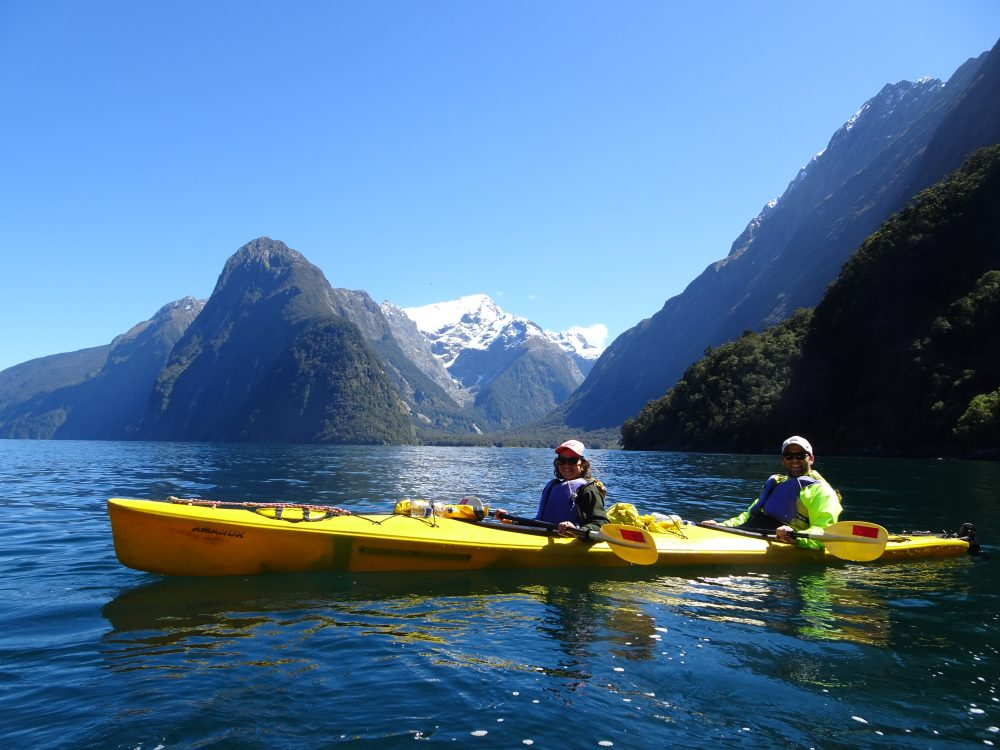 Kayaking in Milford Sound.